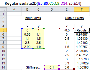 RegularizeData2D Example of Use in Excel