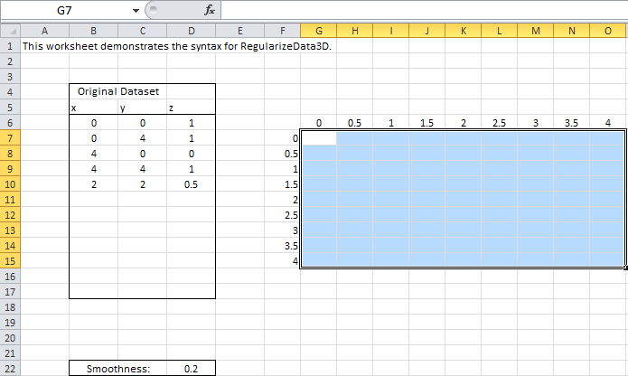 RegularizeData3D – the Excel Spreadsheet Function to