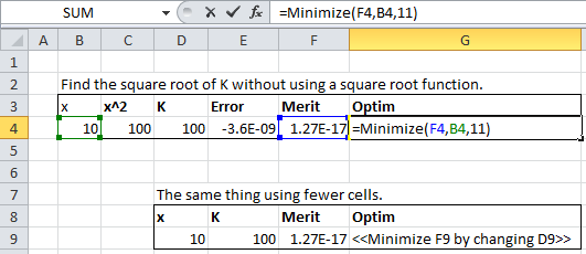 Minimize Function Finding the Square Root of 100